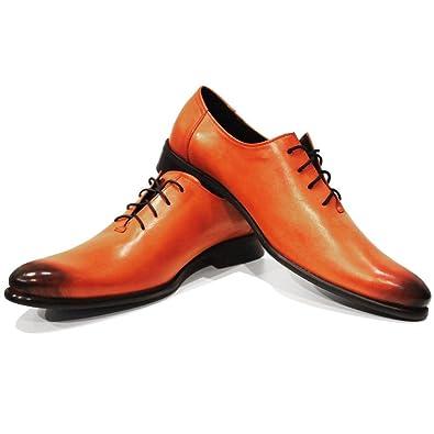 Modello Oriko - 43 EU - Cuero Italiano Hecho A Mano Hombre Piel Naranja Pintado A Mano Zapatos Oxfords - Cuero Cuero Pintado a Mano - Encaje Gko73h4il