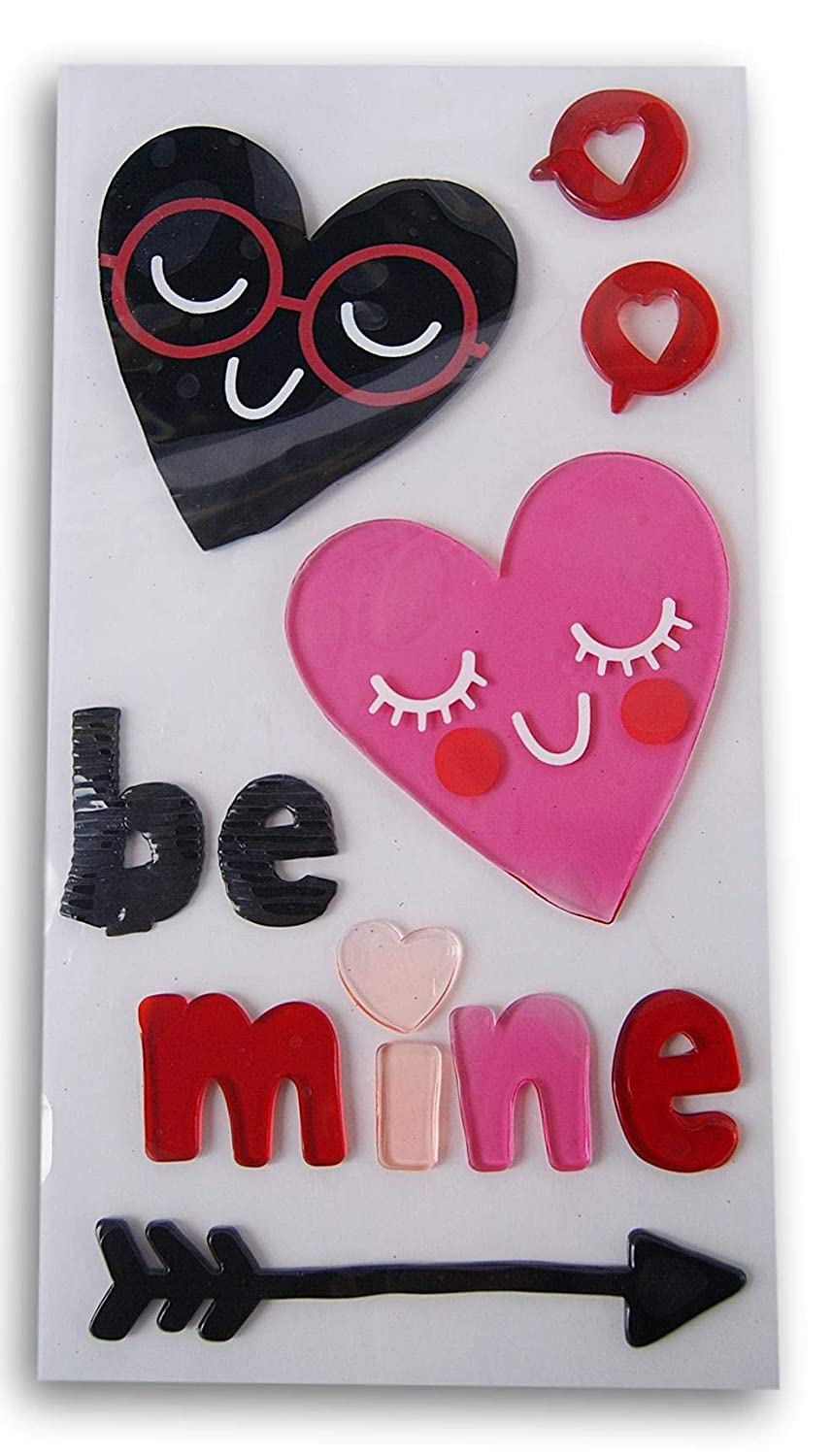 Holiday Valentines Day Be Mine Gel Window Clings 12 Piece