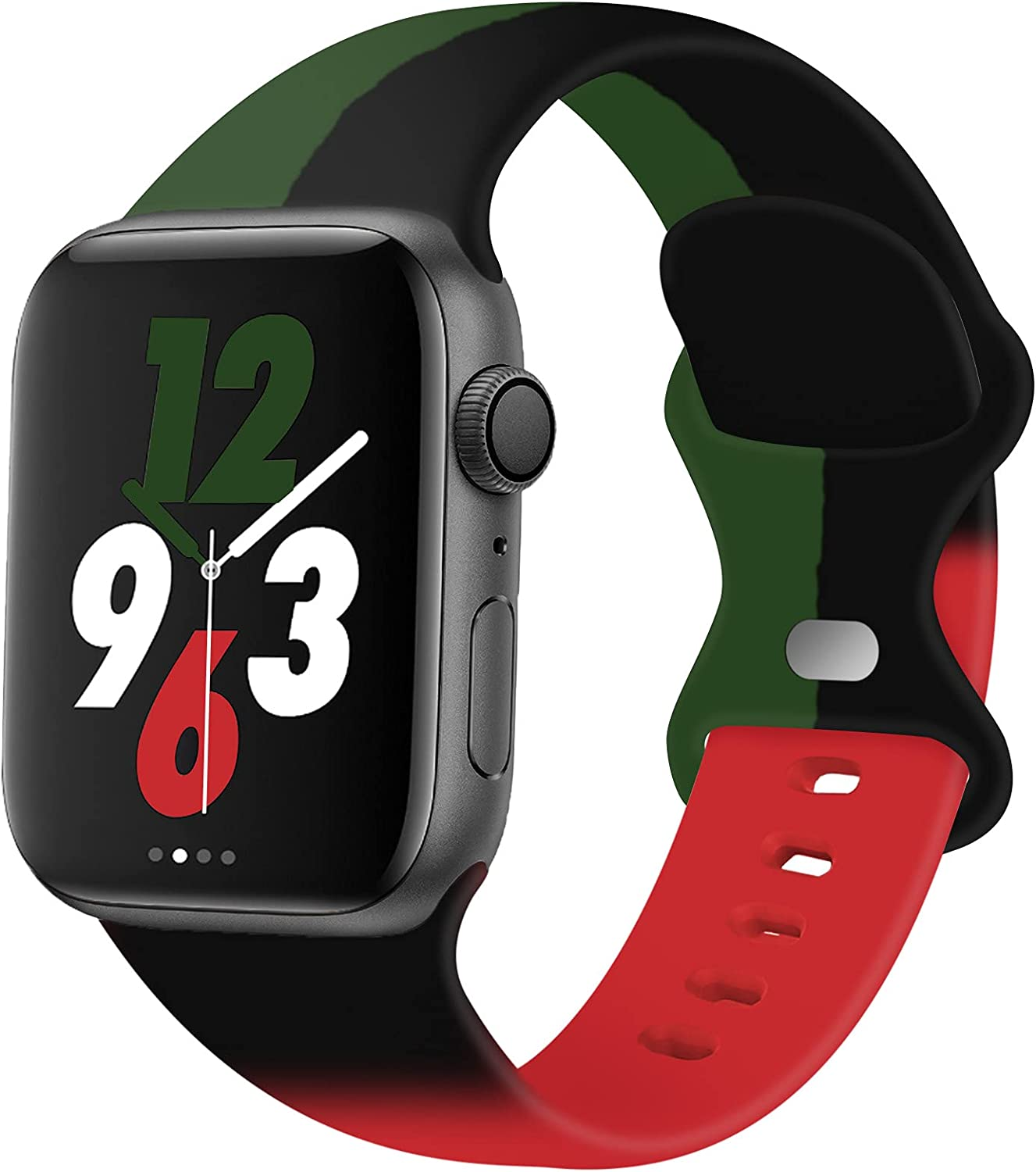 Acrbiutu Bands Compatible with Apple Watch 38mm 40mm 42mm 44mm, Replacement Soft Silicone Sport Strap for iWatch SE Series 6/5/4/3/2/1 Women Men, Mixed Black Green Red 38mm/40mm S/M