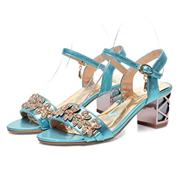 a804245e0bb Amazon.com  Women Sandals Luxury Bridal Shoes Summer Open Toe Party Chunky  Heels Rhinestone Sandals  Clothing
