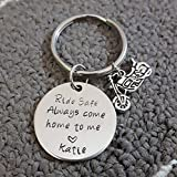 Ride Safe Key Chain with Motorcycle, Always Come Home to Me, Handstamp, Biker Gift, Be Safe Gift
