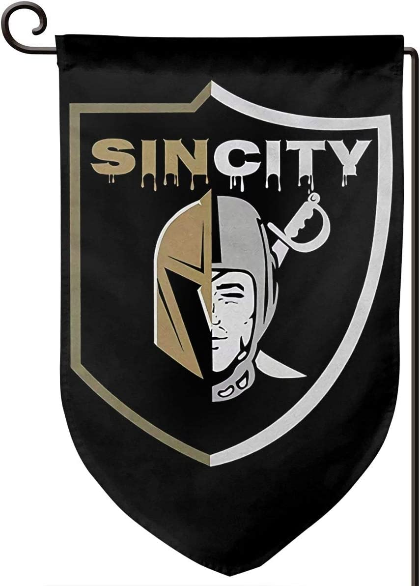 Sin City Las Vegas Raiders Golden Knights Fashionable Garden Flag Double Sized Print Decorative Holiday Home Flag 12.5 X 18 Inch