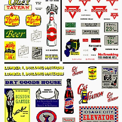 Tavern, Gas Station, & Comm. Signs Dry Transfer Decals Woodland Scenics