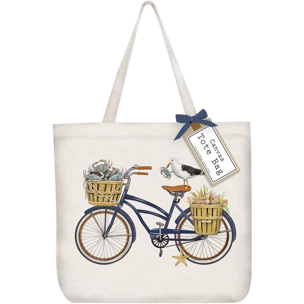 Mary Lake-Thompson Blue Crab Bike Cotton Canvas Tote Bag