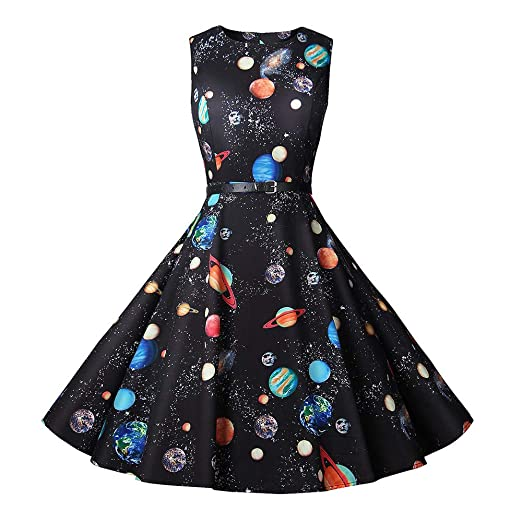 4Clovers A-Line Dress, Women Starry Sky Printing Hepburn Cocktail Dress Swing Gown