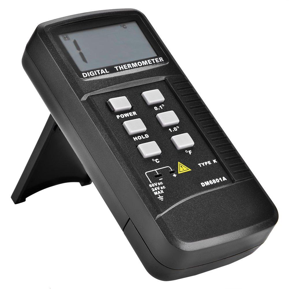 Scientific Digital Thermometer 1 Sensor Probe K-Type HVAC Tool Temperatur 6801