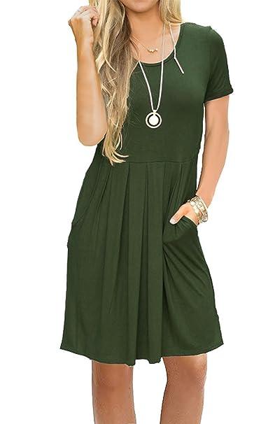 59190e206be JOSIFER Womens Summer Casual Cute Sundresses Tshirt Swing A Line Dress for  Women Knee Length Army