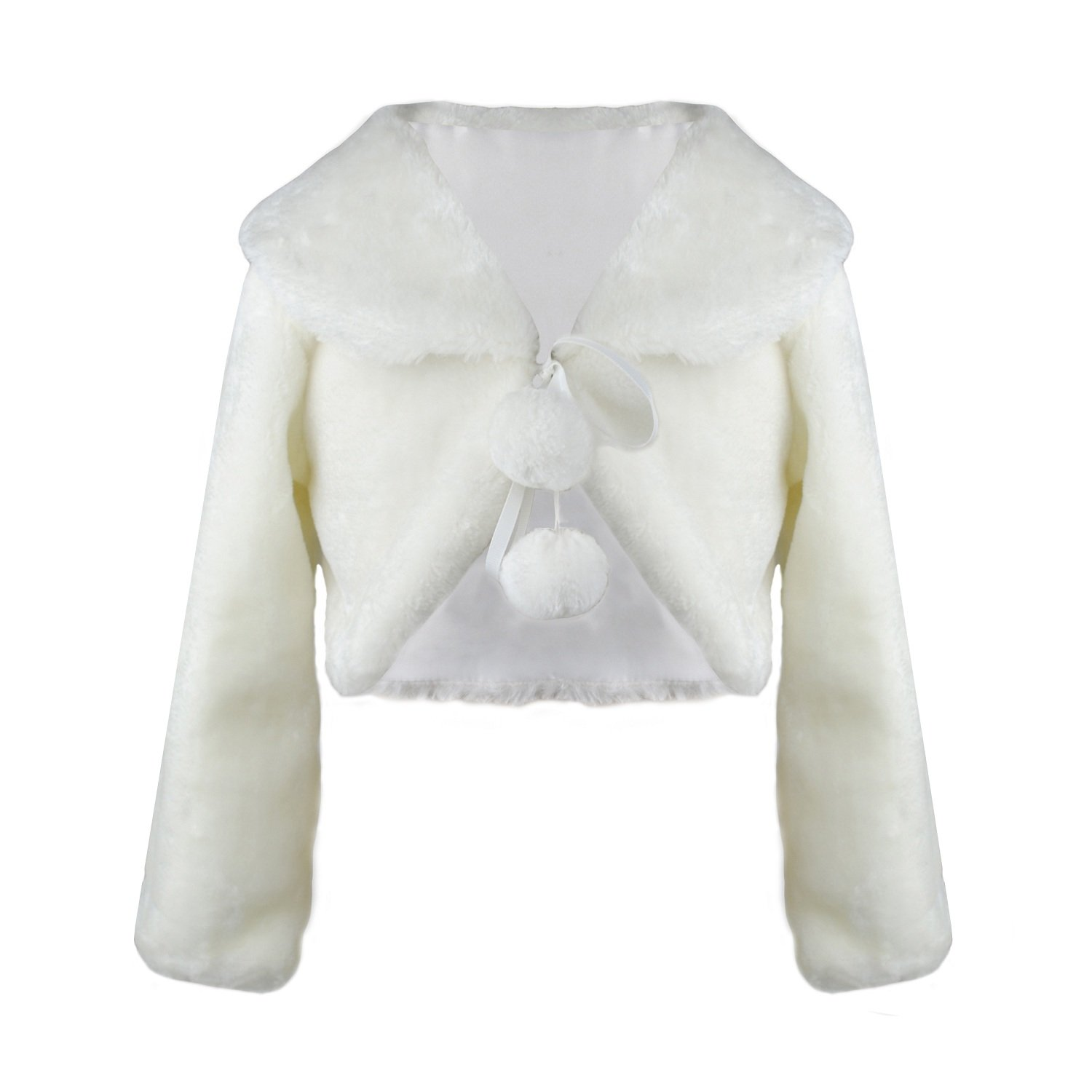 Abbyabbie.Li Faux Fur Girl Shrugs Long Sleeve Winter Warmer Jacket for Kids Bridesmaid Ivory Tippet for Party Wedding