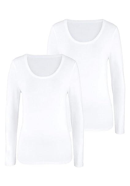 KT SUPPLY Paquete 2 Camisetas Mujer Cuello Redondo Lisas Mangas Largas(2xblanco, S)