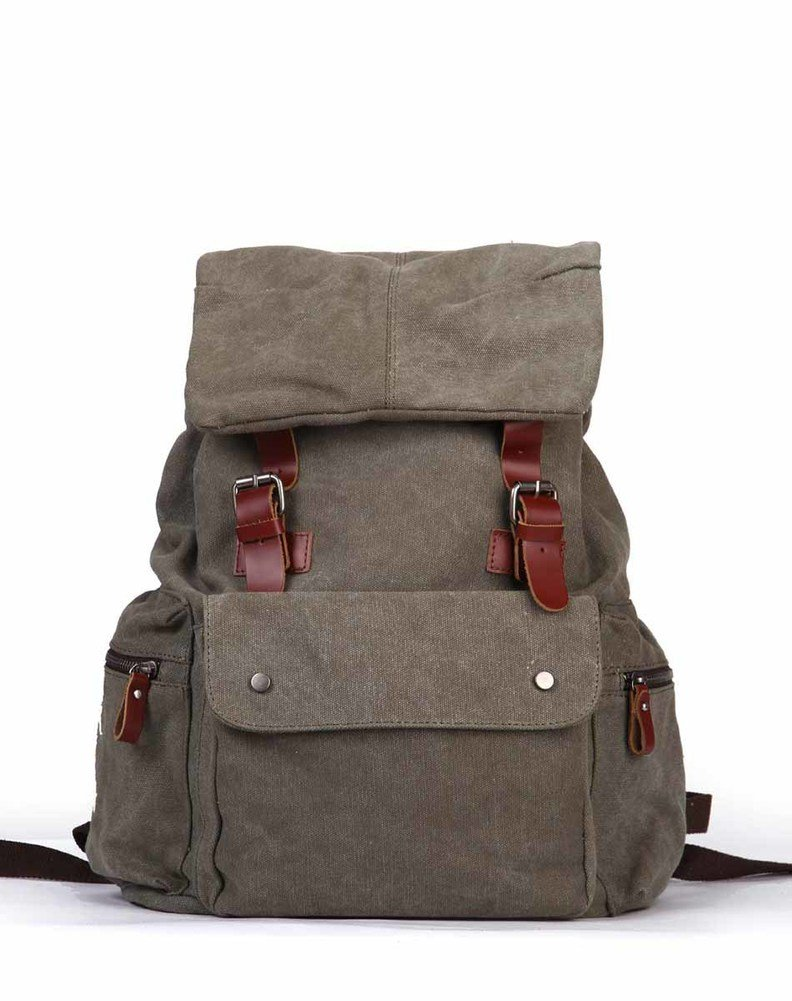 Ladies canvas backpack/Individuality rivet school bag/Travel backpack-A