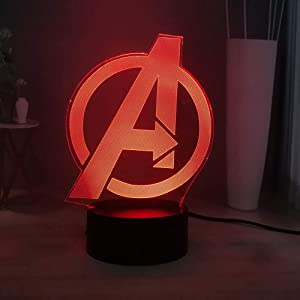 3D Night Lamp Marvel The Avengers Logo Home Decoration Cool LED Kids Night Light RGB 7colorful Baby Sleeping Table Lamp Bedsdie Lamp Children Present Marvel Fans Gift Lamp