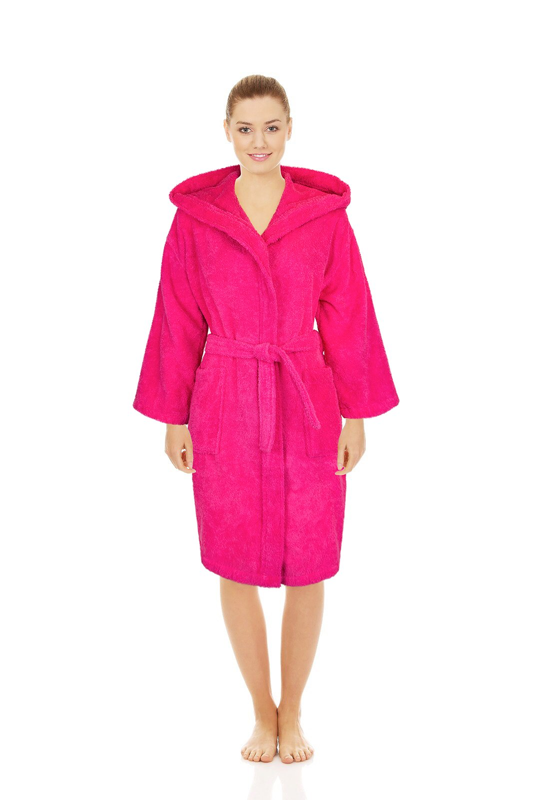 Silken Teenager Robe 100% Turkish Cotton Terry Hooded Bathrobe Extremely Absorbent Towel (Hot Pink, Large | 36'' | 7-11 Ages)