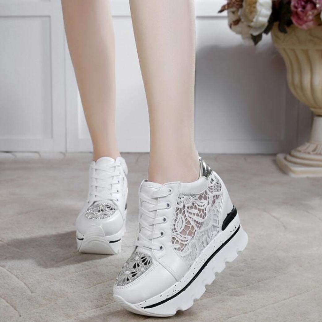 Womens Sneaker Thick Sole Shoes Rhinestone Lace Woman Platforms FemaleSoft Breathable High Heel Shoes for Summer