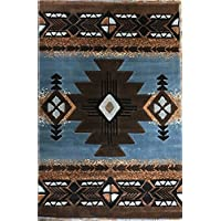 Southwest Native American Area Rug Blue  Brown Design C318 (5feet 2 Inch X 7 Feet 1 Inch )