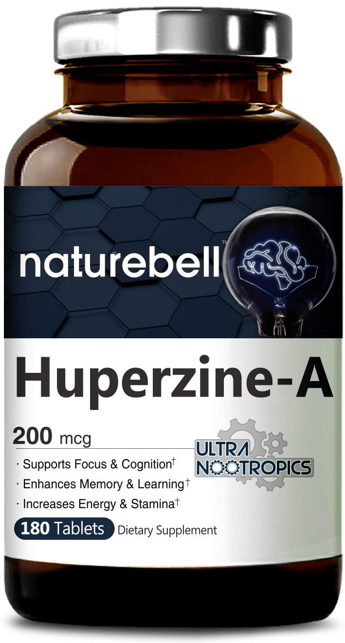 NatureBell Huperzine A 200mcg, 180 Tablets, Powerful Ultra Nootropics Supports Focus and Cognition, Enhances Memory and Learning Ability, No GMOs, Tested and Made in USA by NatureBell