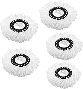 5PCS White Microfiber Replacement Mop Head Spin Mop Head Replacement 5-Pack, Microfiber Refill Heads Universal for 360 Spin Magic Mopping, Round Shape Standard Size