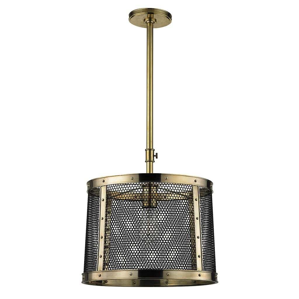 Waterworks Ipswich Ceiling Mounted Pendant with Mesh Shade in Unlacquered Brass