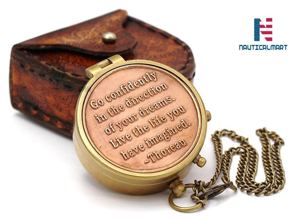 Touring NauticalMart Inc Hiking NAUTICALMART Brass Compass//Inspirational Gift//Directional Magnetic Compass for Navigation//Pocket Compass for Camping