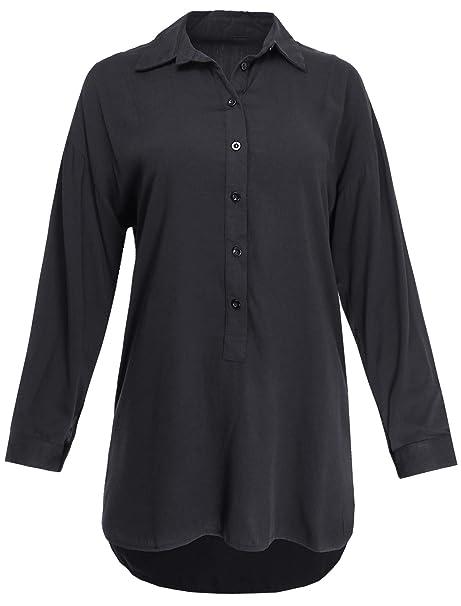 Ladies Code Long Sleeve Half Button Down Placket Tunic Blouse Shirt