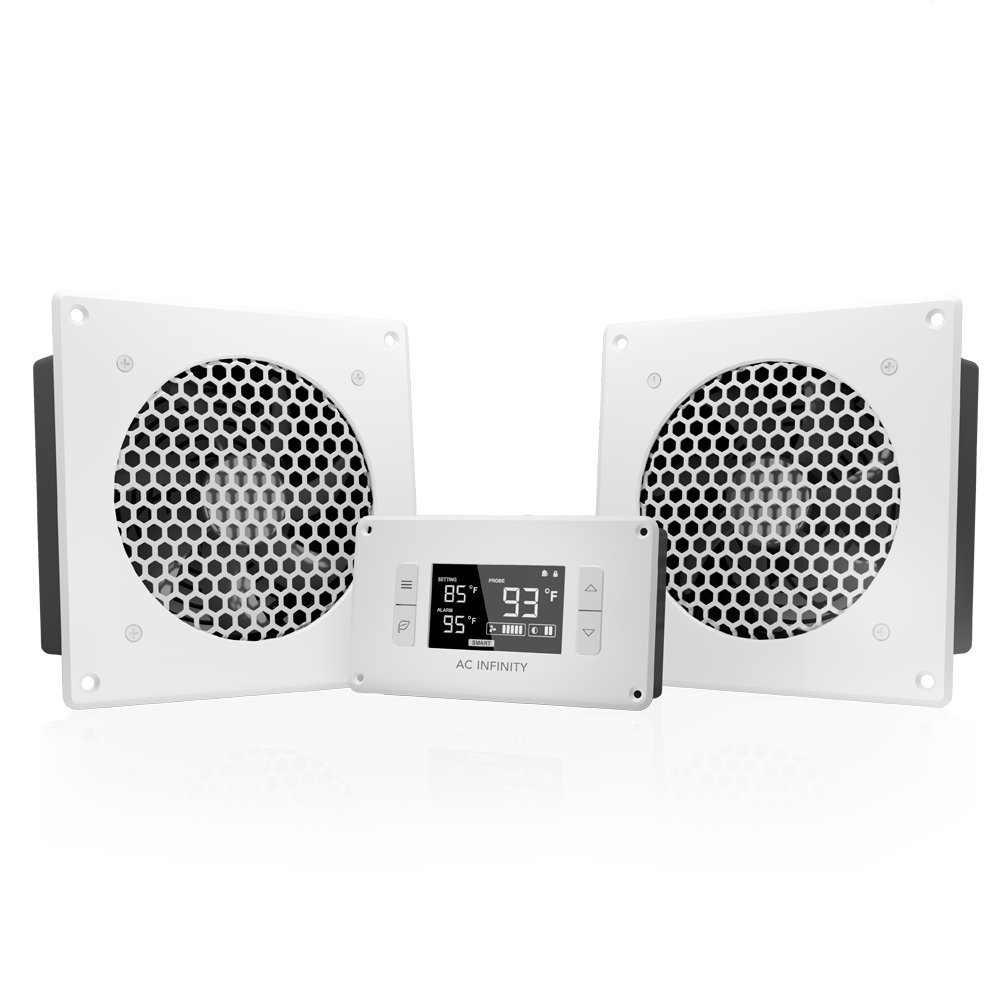 "AC Infinity AIRPLATE T8 White, Quiet Cooling Dual-Fan System 6"" with Thermostat Control, for Home Theater AV Cabinets"
