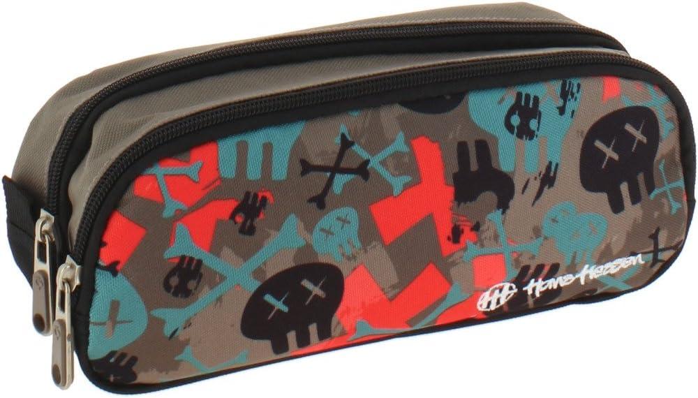 Grafoplás Skate Hans Tiessen - Estuche escolar con dos bolsillos y dos cremalleras, 24.5 x 9.5 x 8 cm: Amazon.es: Oficina y papelería