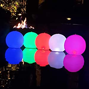 "Cootway Floating Pool Lights Inflatable 2PCS,Solar & USB Powered 14"" LED Balls IP68 Waterproof Led Glow Globe,Steady Color & Color Changing Night Mood Light,Bright Colorful Light for Garden,Backyard"