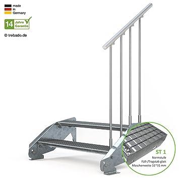 feuerverzinkte Stahltreppe mit 1000 mm Stufenl/änge als montagefertiger Bausatz Gitterroststufe ST2 einseitiges Gel/änder links Anstellh/öhe variabel von 29 cm bis 44 cm Au/ßentreppe 2 Stufen 100 cm Laufbreite