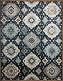 Rugshop Geometric Distressed Area Rug, 7′ 10″ x 10′, Navy Review