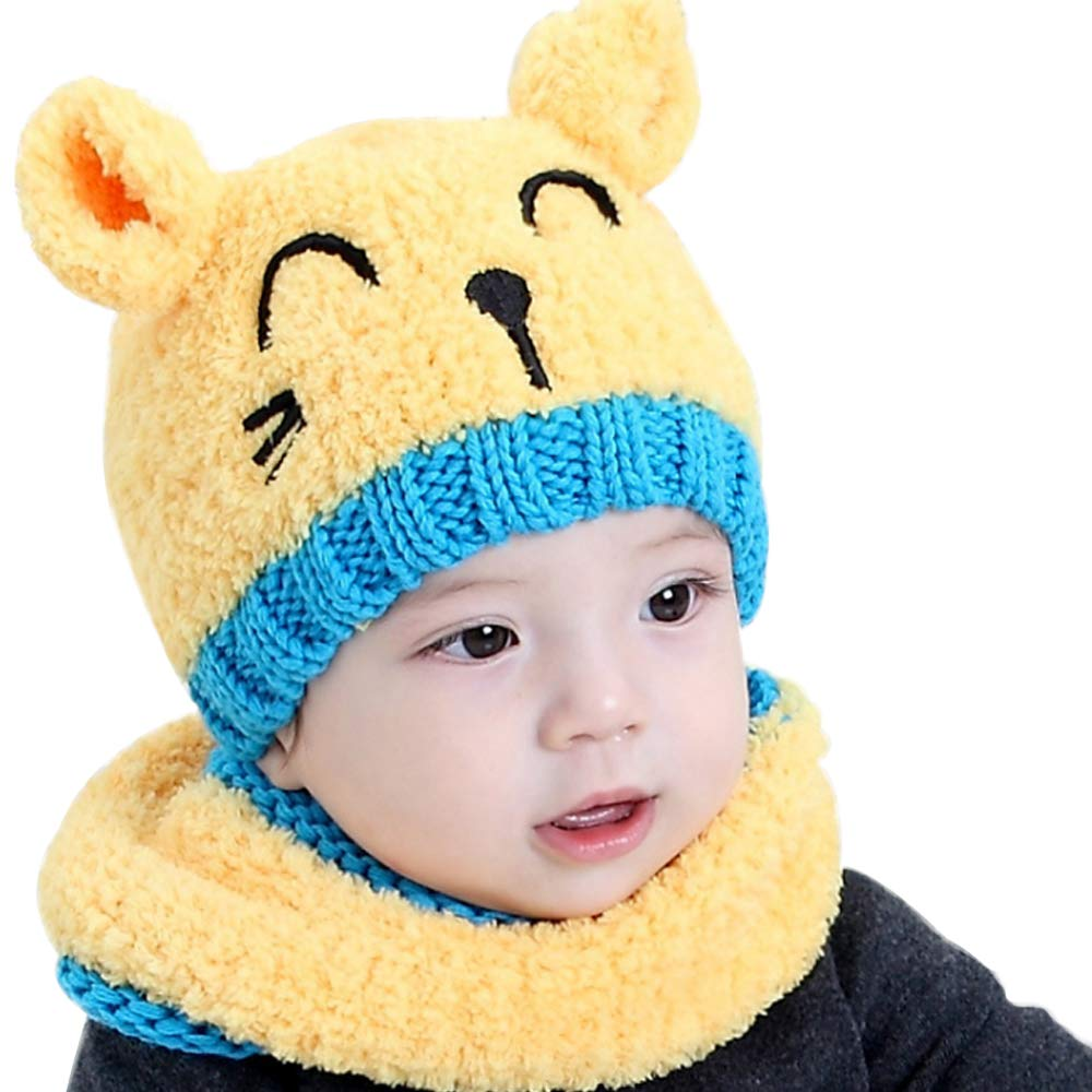 4a153243 Amazon.com: CoolKo Winter New Children Collar Plus Velvet Cap Baby Hat  Cartoon Cat Design Set for Boy and Girl Age: 1 to 2 Years Old [Yellow]:  Clothing