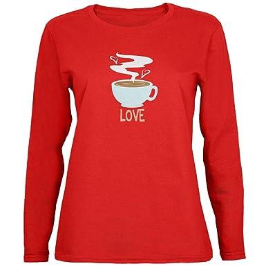 Old Glory Amor Café Rojo para Mujer Camiseta de Manga Larga - Rojo ...
