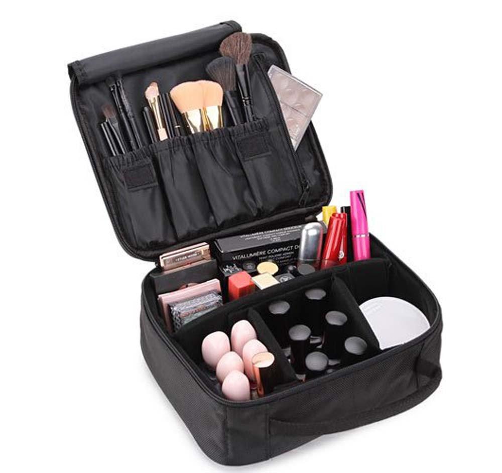 Bekith Black Portable Travel Makeup Bag/Cosmetic Organizer Kit/Makeup Train Case with Adjustable Dividers