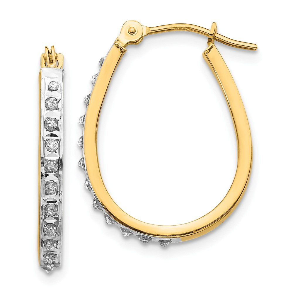 Beautiful rhodium plated gold and silver 14K 14k Yellow & Rhodium Diamond Fascination Oval Hinged Hoop Earrings