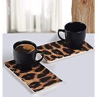 Keramika 4 Parça 2 Kişilik Kahve Sunum Seti Leopar Desenli