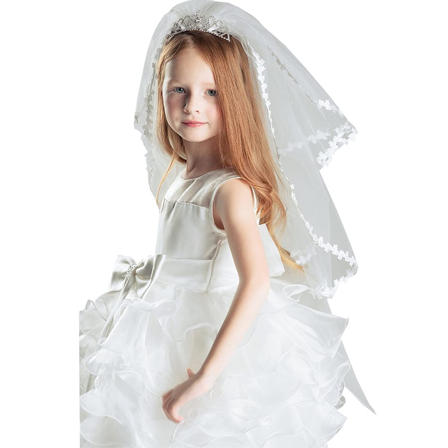 Castle Fairy Girl's Two Layers Crystal Tiara Veil Wedding Communion