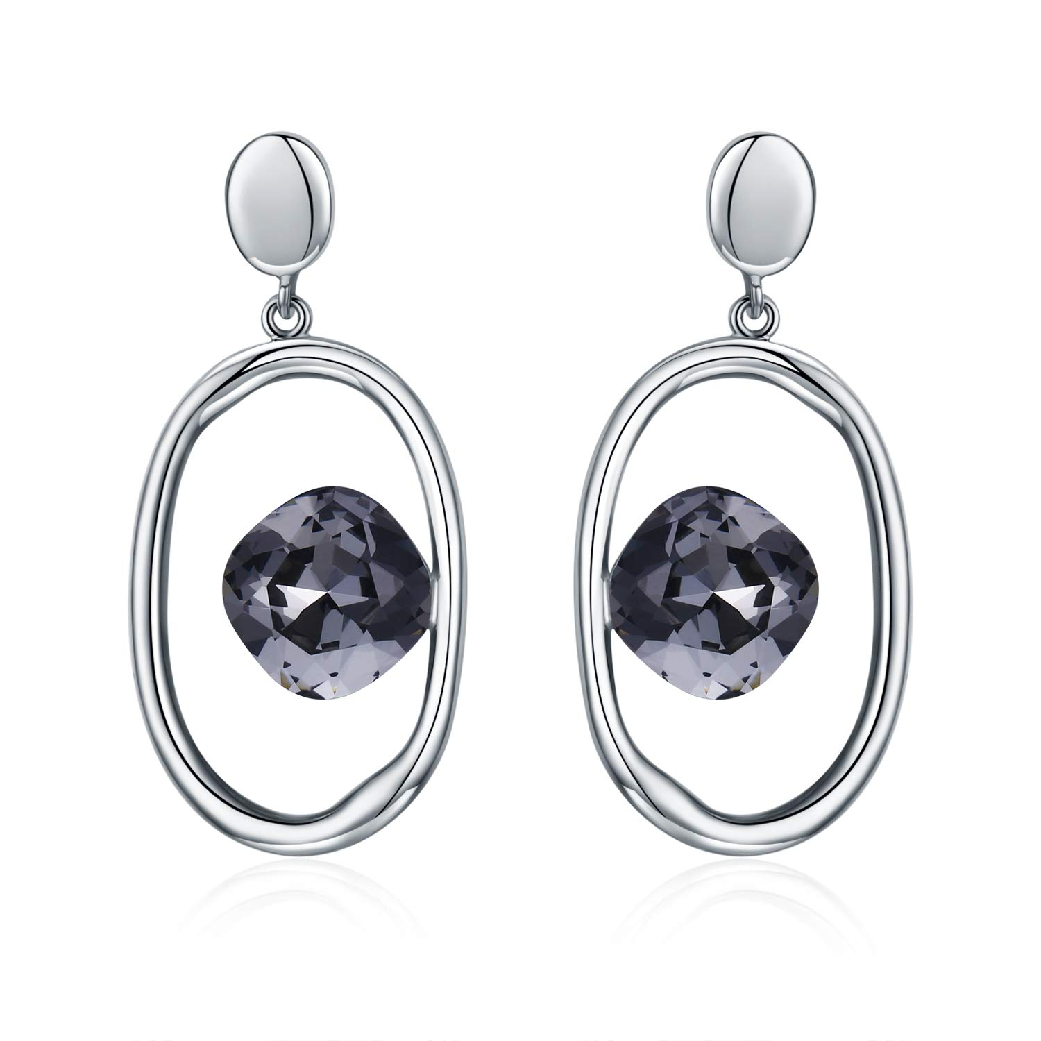 SBLING 18K Champagne Gold Plated or Platinum Plated Drop Earrings Made with Swarovski Crystals 4 cttw