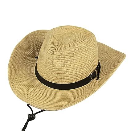 b3719cef Amazon.com: Straw Cowboy Hat Outdoor Kaimao Sun Beach Hat Wide Brim  Foldable for Men 56-58cm - Yellow: Home Improvement