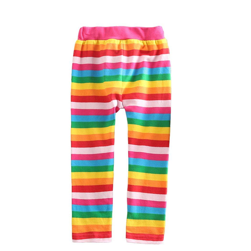 VIKITA Leggings Cotone Pantaloni Righe Arcobaleno Bambine e ragazze F5508 3T F5508COLOR3T