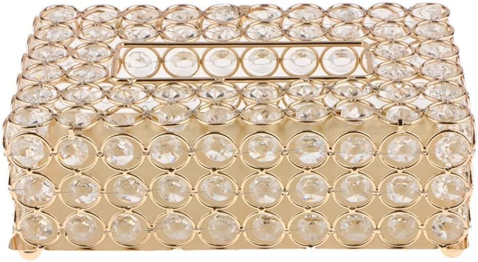 Color : Gold, Size : 21 x 12.5 x 6.3cm Tissue Box Crystal Facial Tissue Box Holder Crystal Square Napkin Dispenser Bedroom Office Hotel Cafe Coffee House Bar