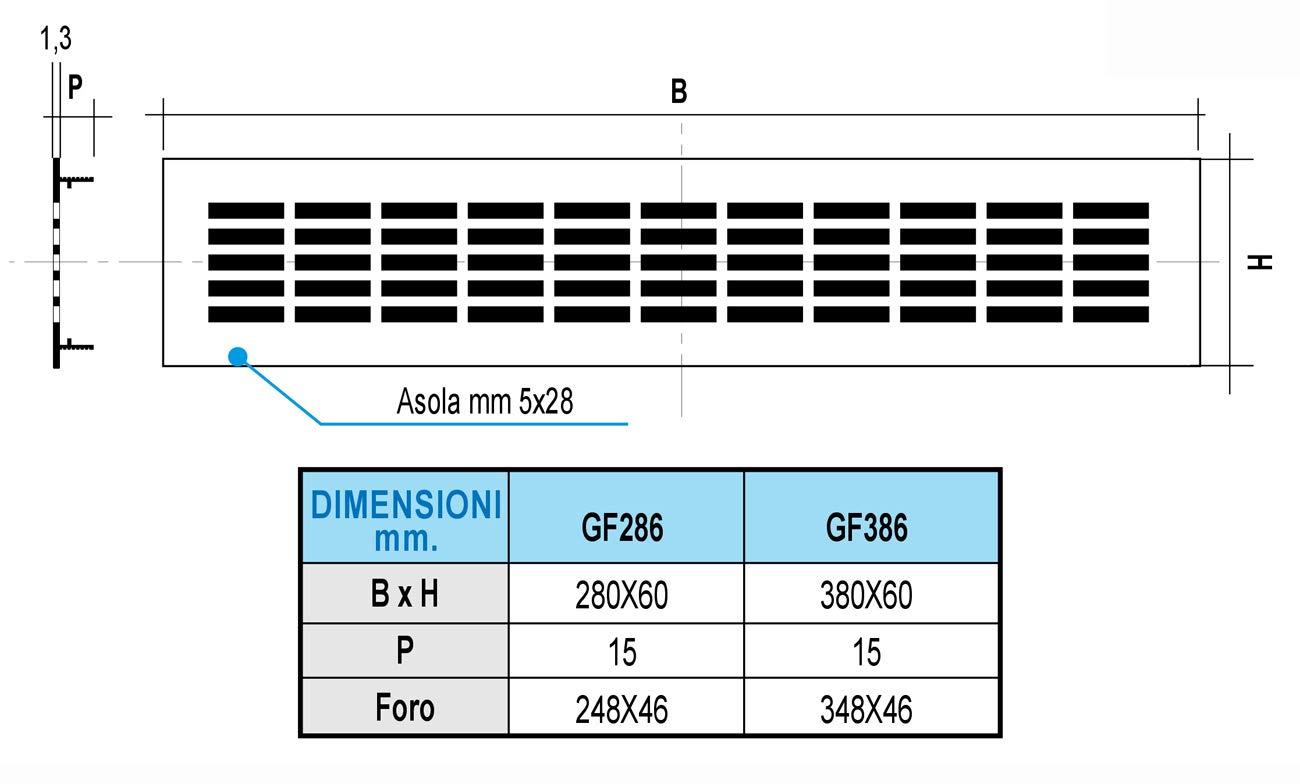 La ventilaci/ón gf386b-y gf386b Rejilla rectangular de integrado Aluminio lacado 380/x 60/mm blanco