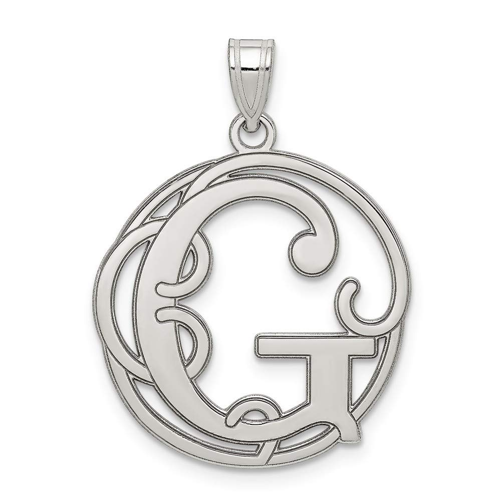 Solid 925 Sterling Silver Fancy Script Initial G Pendant Charm