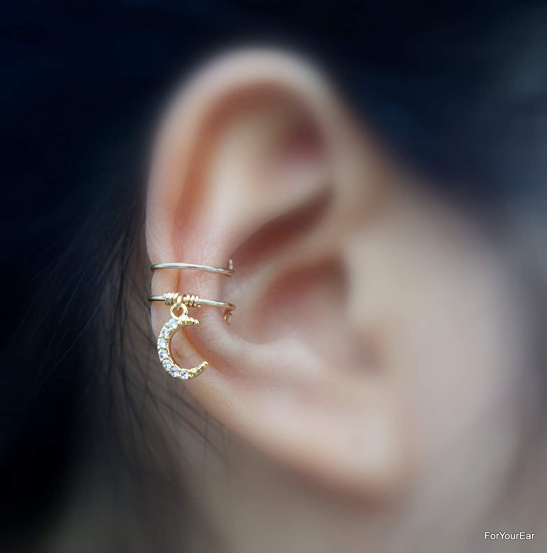 ear jackets No Piercing Tiny Crescent Moon Charm Ear Cuff 144