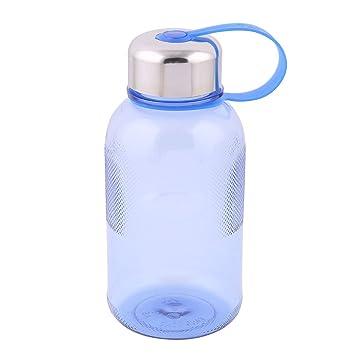 sourcing map Botella De Agua De Plástico De Viaje Portátil Taza Beber Cantina Cadena Azul 600Ml: Amazon.es: Hogar