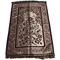 Luxury Quality Silk Rose Pattern Islamic Prayer Rug Janamaz Sajjadah Muslim Namaz Seccade Turkish Prayer Rug (Burgundy)