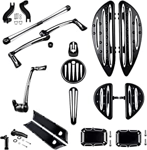 Compatible with Harley Set Driver Passenger Floorboards Mount Kit Brake Arm Lever Pedal Shift Linkage Heel Toe Shifter Peg Fuel Door Dash Ignition Switch Master Cylinder Saddlebag Cover Latch Lifter