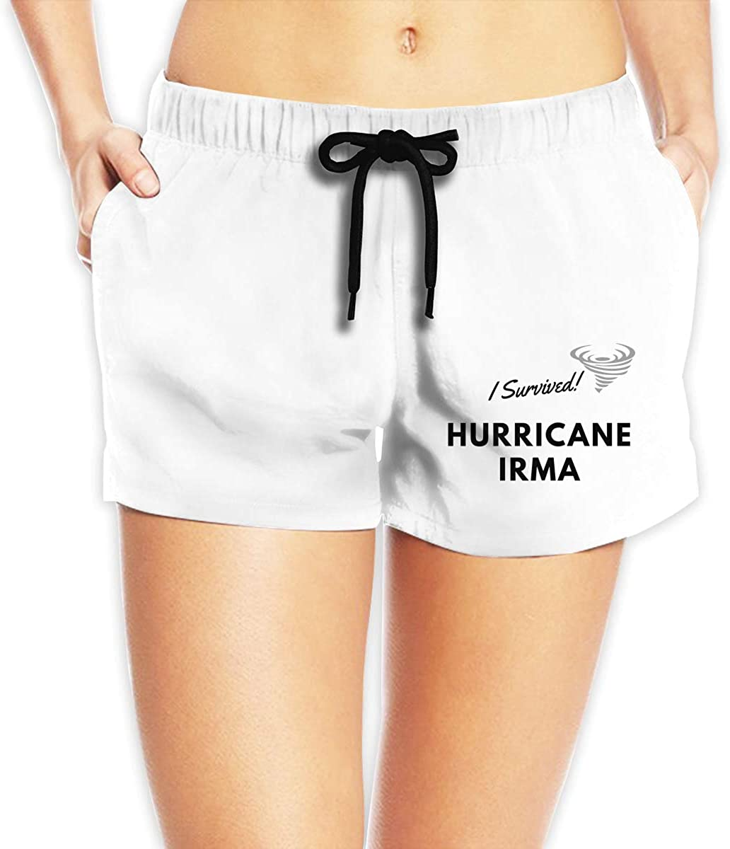 I Survived Hurricane Irma Girls Summer Casual Shorts,Beach Shorts Quick Dry Short