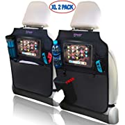 Oowap Backseat Car Organizer - Car Seat Back Protectors with Free Tissue Holder – Kick Mats 2 Pack XL with iPad/Tablet Holder
