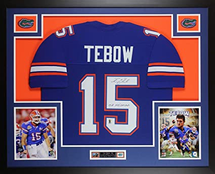 super popular 598e9 06e49 Tim Tebow Autographed Blue Florida Gators Jersey ...