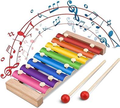 Jooheli Xilófono para niños, Xilófono de Madera, Instrumentos Musicales para niños Tambores y percusión Juguete Musical, Juguete para niña de 3-8 ...