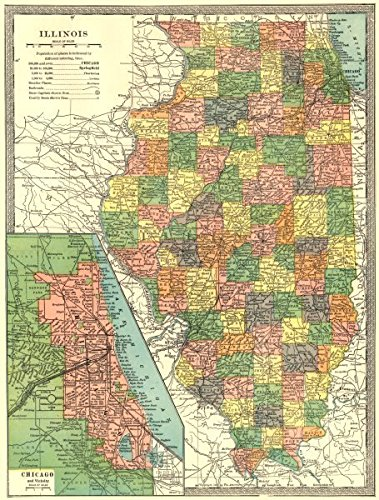 Amazon Com Illinois State Map Counties Chicago Environs 1907