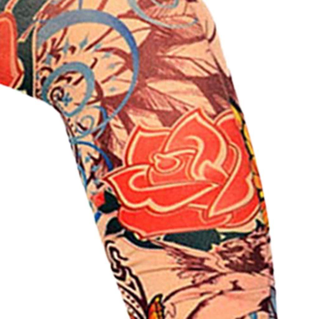 Baoblaze 1 Paire V/élo Sport Faux Tatouage Bras Manches De Protection Solaire